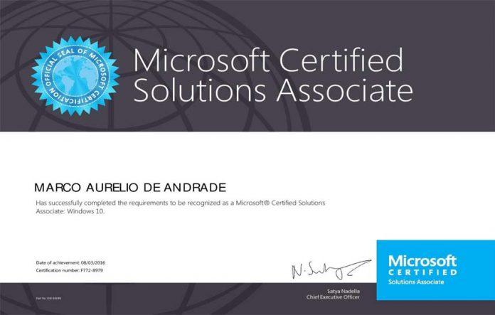 certificação windows 10 mcsa
